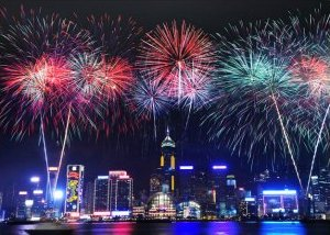 Hong Kong Chinese New Year Fireworks from Cruise Boat