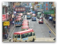 Traffic Gridlock, minibuses in HK