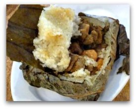 Dim Sum Types: sticky rice wrapped in leaves