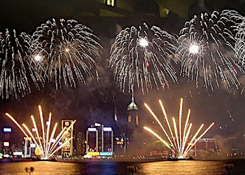 The Fireworks over Victoria Harbour to celebrate Chinese New Year
