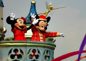 Mickey and Minnie wearing their best reds at Chinese New Year
