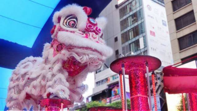Lion Dances at Times Square Hong Kong