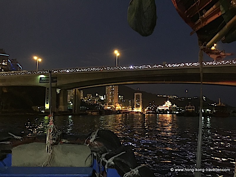 Aberdeen Village Harbour and Ap Lei Chau Bridge at night