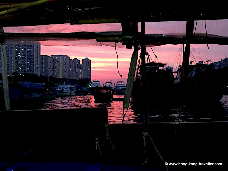 Aberdeen Fishing Village, sunset from a sampan
