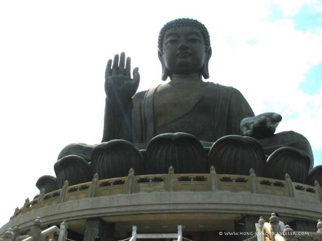 Big Buddha Sits On a Wreath of Lotus Leaves