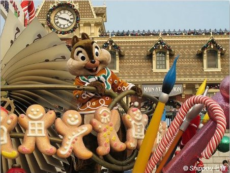 Chip and Dale at Christmas Parade in Hong Kong Disneyland