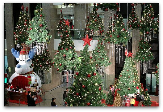 Christmas Trees and Decorations at Times Square Mall Hong Kong