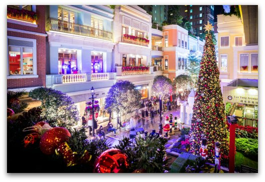 Christmas Trees and Decorations at Lee Tung Avenue Hong Kong