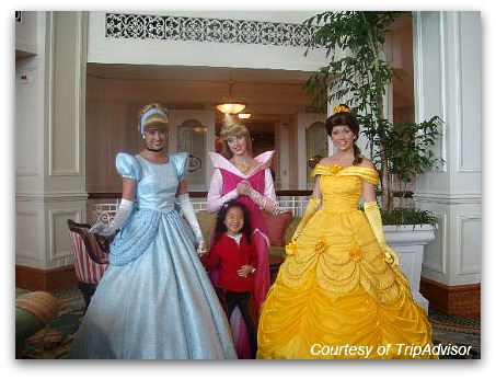 Meeting Cinderella, Sleeping Beauty and Belle at the Lobby
