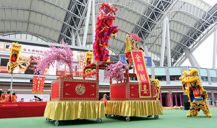 The Hong Kong Chinese New Year Horse Race Meeting at Sha Tin Lion Dances