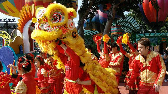 Chinese New Year Lion Dances at Ocean Park in Hong Kong