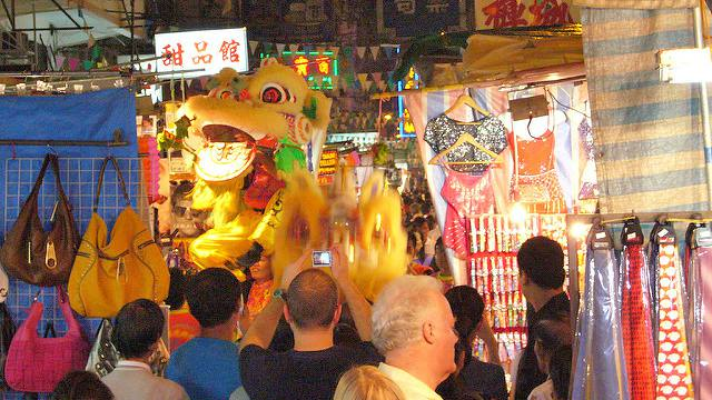Lion Dances at Temple Street Night Market