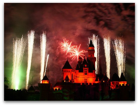 Sleeping Beauty Castle Fireworks at HK Disney during Christmas Time