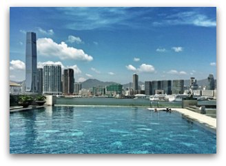 Infinity Pool and views of Kowloon skyline from the Four Seasons Hong Kong