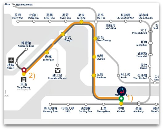 MTR Journey From Central to Tung Chung and Ngong Ping 360