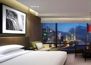Harbour view room  at Grand Hyatt Hotel in Hong Kong