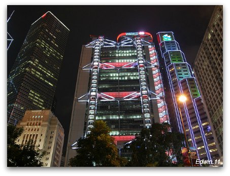 Hong Kong Bank Building at Night