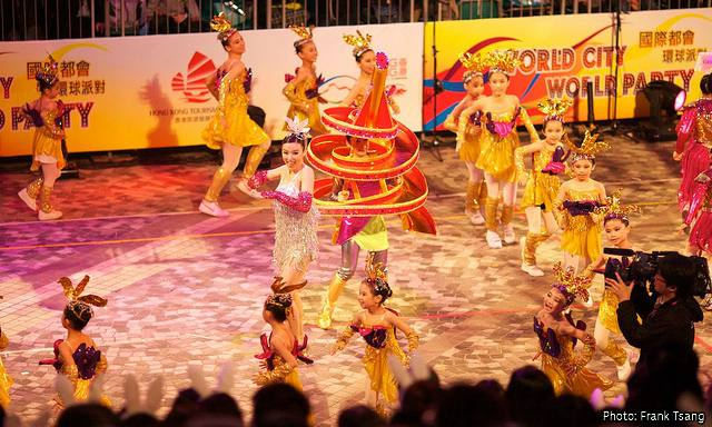 Hong Kong Chinese New Year Parade: Dancers and performers parade amongst the floats