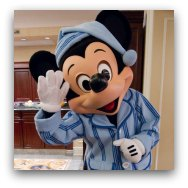 Mickey in PJs at Disney Resort