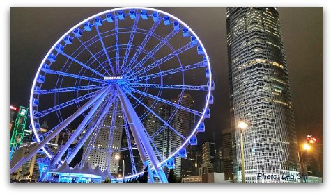Hong Kong Observation Wheel at Night and IFC