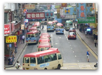 Busy Street Traffic in Hong Kong