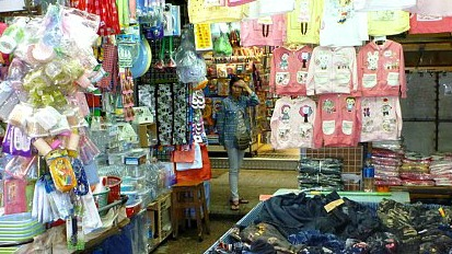 Clothing and trinkets at Ladies Market