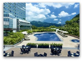 Outdoor views and swimming pool at Hyatt Regency Shatin