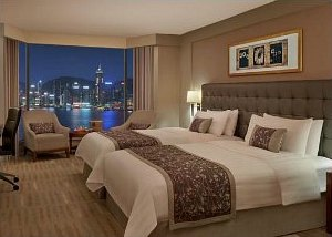 Harbour view room at Kowloon Shangri-La Hotel in Hong Kong