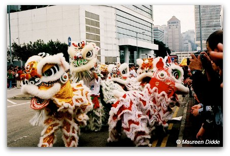 Lion Dancers on the Streets of Hong Kong during Chinese New Year