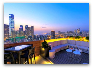 The roof-top lounge at the Madera Hotel