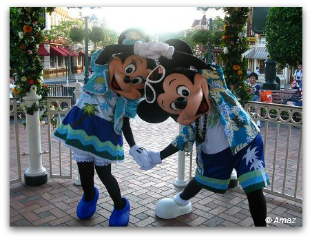 Mickey and Minnie in Summer Beach Clothes