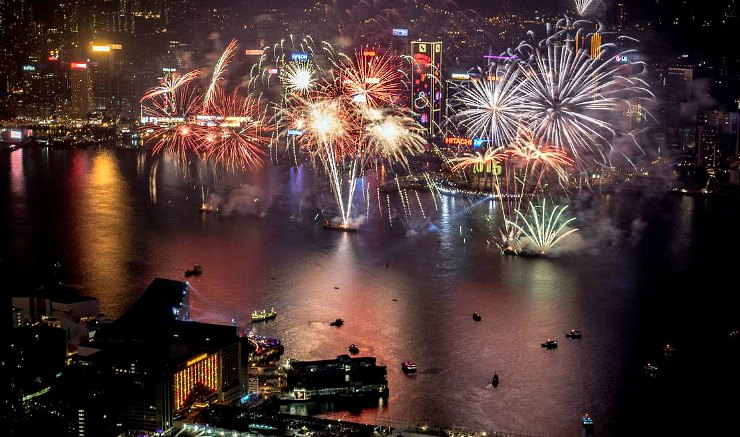 New Year's Eve Countdown views  from TST top of Sky100