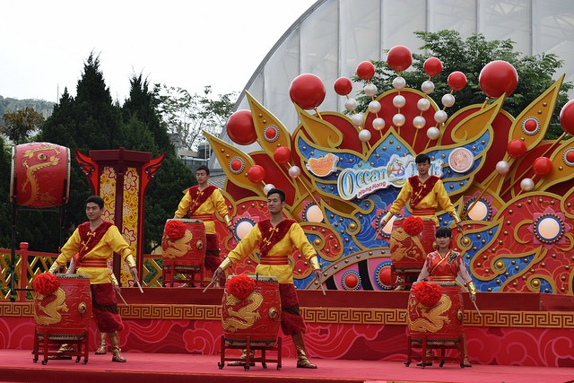 Drummers at Ocean Park for Chinese New Year