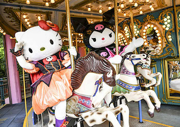 Hello Kitty in Halloween outfits at Ocean Parks Merry Go Round