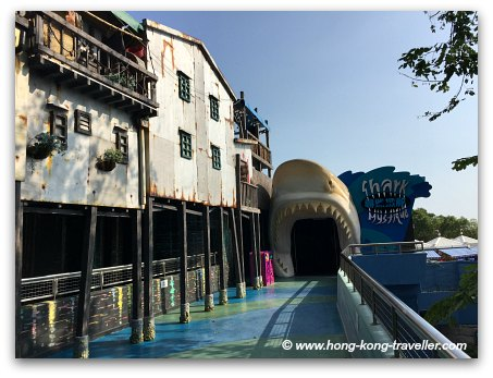 Ocean Park Shark Mystique entrance at the end of the stilt house fishing village
