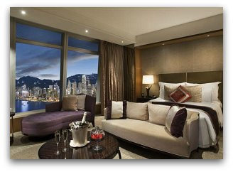 Harbour view suite at Ritz Carlton Hotel in Hong Kong