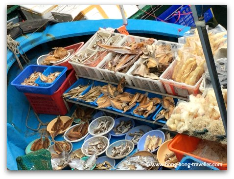 Dried seafood being sold at the floating market in Sai Kung