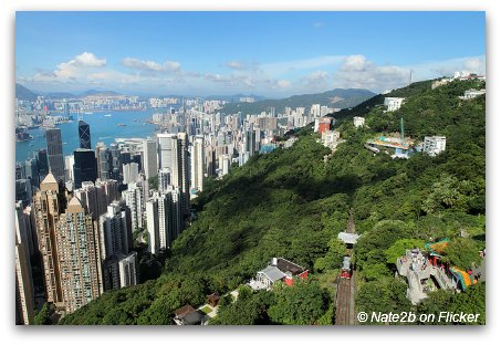 Sunny Day with clear skies in Hong Kong