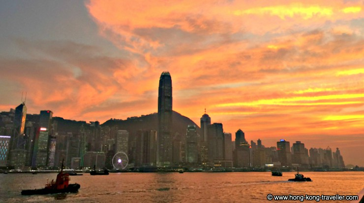 Victoria Harbour at sunset from the Avenue of Stars
