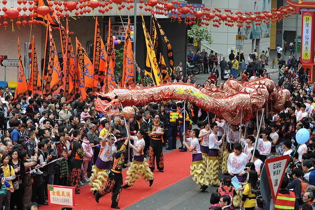 Lion Dance at Tai Kok Tsui Temple Fair