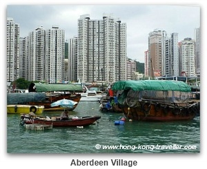 Hong Kong Ancient vs Modern: Highrises and Fishing Village in Aberdeen