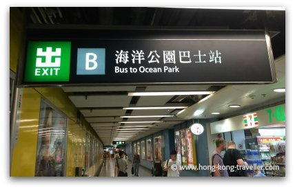 Signs for Bus 629 to Ocean Park at Admiralty MTR Station