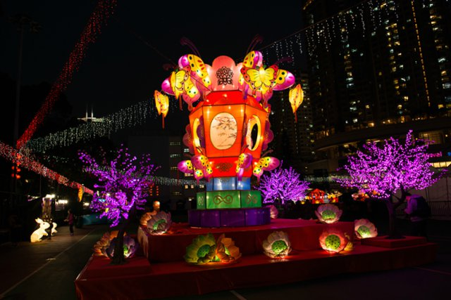 Colorful Lanterns at the Hong Kong Cultural Centre Piazza lit for Spring Lantern Festival
