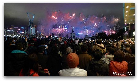 Crowds of spectators watching Chinese New Year fireworks