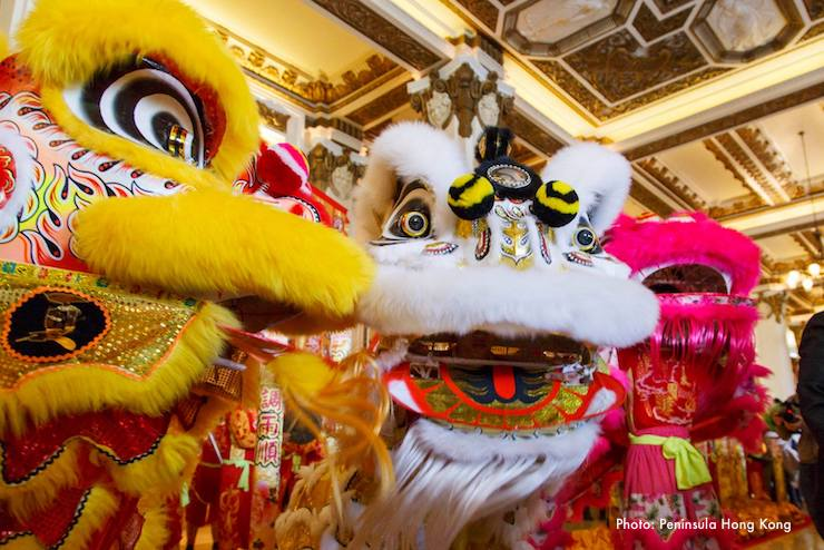 Lion Dances at the Peninsula Hong Kong