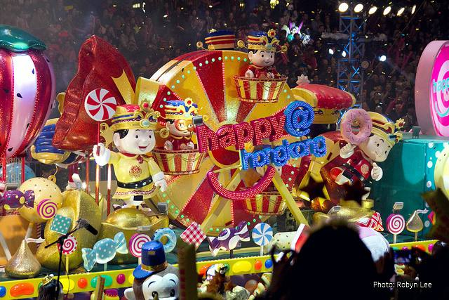 Hong Kong Chinese New Year Parade: Colorful Floats one after the other...