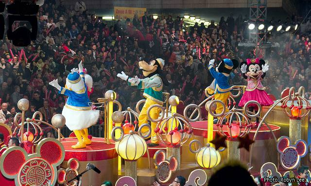Hong Kong Chinese New Year Parade: Mickey and Friends at the Hong Kong Disneyland Float