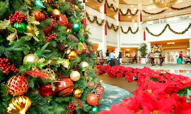 Gorgeous Christmas Tree and decorations at the Lobby of the Disneyland Hong Kong Hotel