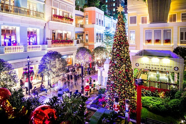 Christmas Lights and Decorations at Lee Tung Avenue in Hong Kong