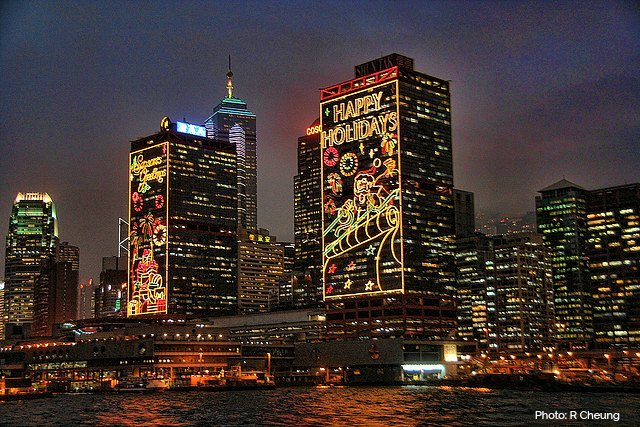 Buildings in the Harbourfront richly decorated for Christmas